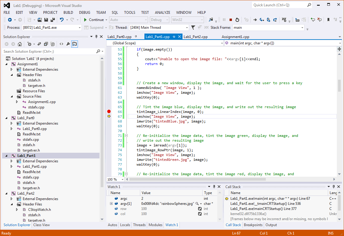 CS585 : Getting Started with Visual Studio Tutorial: Diane H